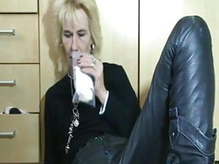 Pervert older playing with her moist pants