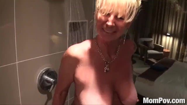 Mompov breasty golden-haired cougar screwed in shower