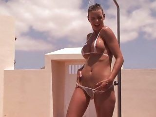 Hawt dark brown milf getting in natures garb and moist outdoor shower