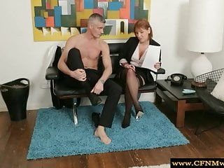 Cfnm milf group feel up exposed lad