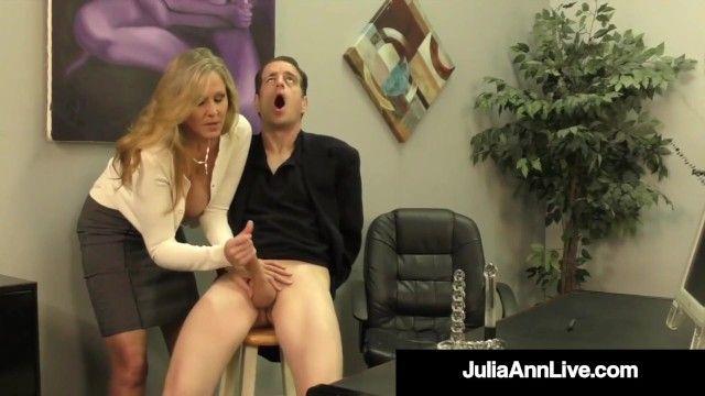 Dong craved cougar julia ann squeezes cum from alternative hard jock