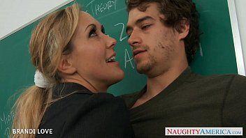 Golden-haired teacher brandi love riding weenie in classroom