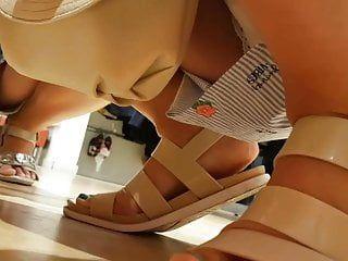 Upskirt russian milf lace pants
