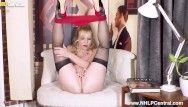 English milf lucy gresty undresses off to heels and stockings to frig herself off