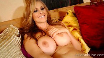 Blond milf julia ann masturbates in red heels