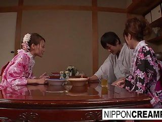 Japanese geisha receives pumped during the time that her girlfriend is asleep