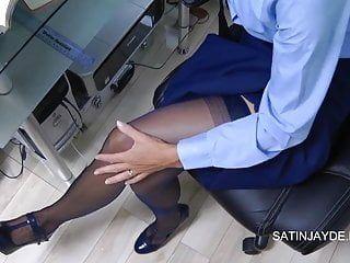 Student masturbation in stockings pants