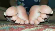 Older milf shows off french pedicure