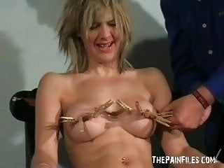 Trashy milf in non-professional sadomasochism and pegged tit castigation of emma