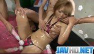 Nasty hottie in micro bikini gagging