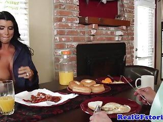 Cheating older wife drilled by abode guest