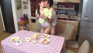 Oriental milf copulates her stepson during dinner